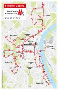 Die Kölner Marathon-Strecke 2013. Grafik: Köln Marathon