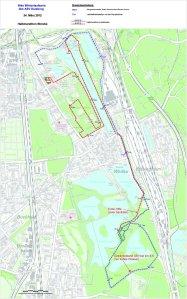Die Halbmarathon-Strecke beim Winterlauf in Duisburg.