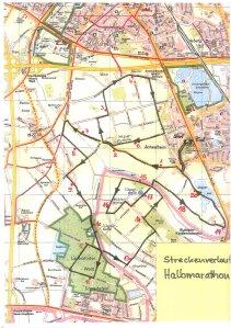 Streckenverlauf des Halbmarathons in Schwafheim.