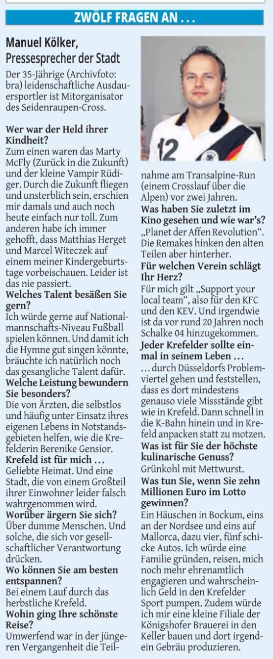 Westdeutsche Zeitung, 11.10.2014