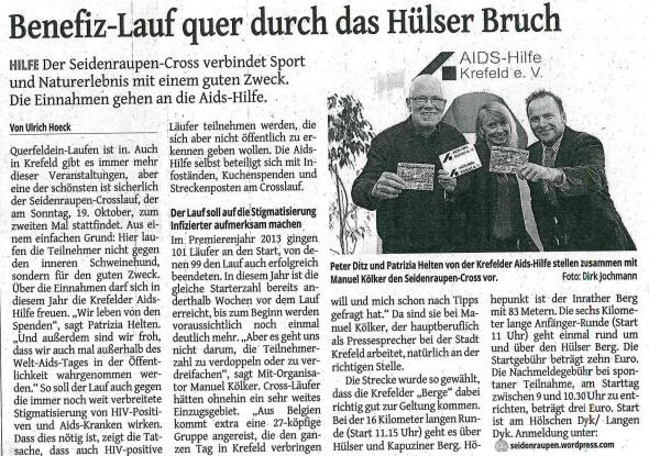 Aus der Westdeutschen Zeitung vom 7. Oktober 2014