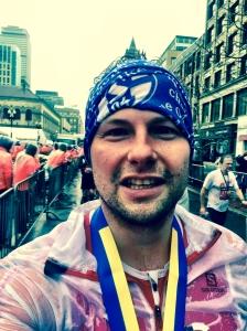 Im Ziel beim Boston-Marathon.