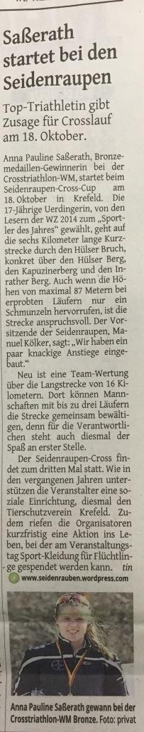 Westdeutsche Zeitung, 9. Oktober 2015