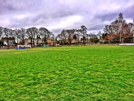 Blick auf den Rasenplatz der Hubert-Houben-Kampfbahn. Hier hätte der Martinscross stattgefunden.