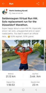 """Da kann man sich mal feiern: Neue Halbmarathon-Bestzeit, und das ohne Zuschauer, Mitläufer und sonstige Begleitumstände eines """"normalen"""" Wettkampfes."""